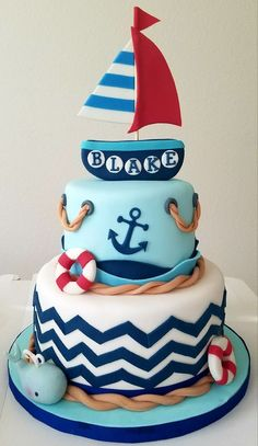 Nautical Baby Shower Cake on Cake Central - Baby Shower Cake Ideas - Kuchen Torta Baby Shower, Baby Shower Cakes For Boys, Baby Shower Cupcakes, Baby Shower Parties, Baby Boy Shower, Nautical Baby Shower Cakes, Shower Party, Nautical Baby Shower Decorations, Boy Baby Shower Themes