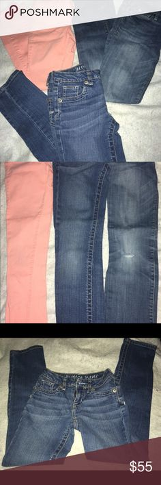 Girls brand name 10 slim jeans lot Three pair of brand name 10 slim jeans neon orange super skinny gap jeans good condition just slight fading in some areas Abercrombie jeans has slight distress to the knee but overall good shape justice super low skinny jeans in perfect condition Gap abercrombie justice Pants Skinny