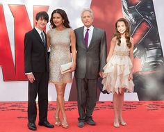 Catherine Zeta-Jones and Michael Douglas with their children Dylan and Carys as they attend the European Premiere of Marvel's 'Ant-Man' at the Odeon Leicester Square on July 8, 2015 in London, England.(Photo by Julian Parker/UK Press via Getty Images)