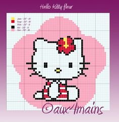 Hello Kitty flower hama beads pattern (4x234) by aux4mains