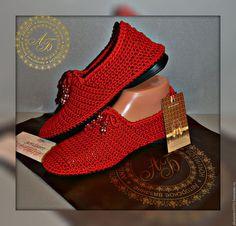 Обувь ручной работы. Ярмарка Мастеров - ручная работа. Купить Слипоны. Handmade. Ярко-красный, летняя обувь, сапожки вязаные