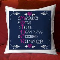 """Add a running theme to any room with this fun throw pillow. 14"""" x 14"""" zippered pillow with a super comfy faux down insert. One sided design with an option to have design on both sides."""