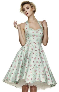Beautiful satin halter neck circle dress in gorgeous mint green with candy and cherry print. Great rockabilly pin-up style Pin Up Vintage, Vintage Mode, Vintage Style, Vintage Outfits, Retro Outfits, Vintage Dresses, Vintage Fashion, Pin Up Dresses, Cute Dresses