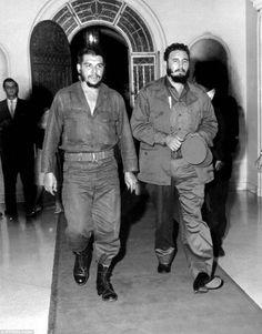 Castro (right) with revolutionary Ernesto 'Che' Guevara in Havana's famous '1830' restaura...