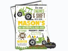 Tractors 28499410128419101 - Tractor Birthday Invitation Tractor Invite Farm Tractor Invite Barn Invite John Deere Tractor by Busy bee's Happenings Digital File Source by Farm Birthday, Boy First Birthday, 3rd Birthday Parties, Birthday Ideas, Tractor Birthday Invitations, Birthday Banners, John Deere Party, Construction Birthday Parties, Construction Party