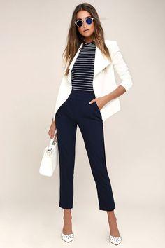 Kick It Navy Blue Trouser Pants 8