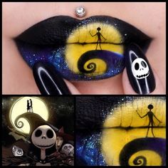 Nightmare Before Christmas Lip Art  Jasmina from Instagram created another inspiring lip look using my Karla Cosmetics lip brushes.  Who else loves this film?  Karla X