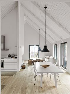 Pitched Roofing + Wooden Beams - The Design Chaser. home decor and interior decorating idea. Home Interior, Interior Architecture, Interior Modern, Modern Exterior, White House Interior, Natural Architecture, White Interior Design, Minimalist Architecture, Interior Livingroom