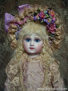 French Bebe Jumeau antique reproduction porcelain doll by Emily Hart