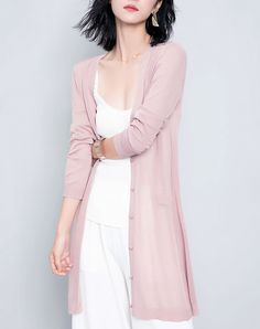 #VIPme Pink Single-breasted Long Loose Cardigan ❤️ Get more outfit ideas and style inspiration from fashion designers at VIPme.com.
