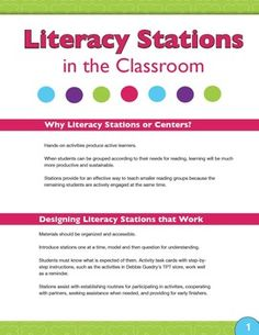 Free Download! A practical guide for preparing Literacy Stations or Centers in the elementary classroom.