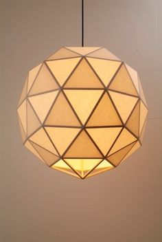 Geometric Wood and Paper Lamp
