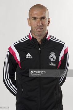 Assistant coach Zinedine Zidane of Real Madrid Castilla poses during a portrait session at Ciudad Real Madrid on January 8, 2015 in Madrid, Spain.
