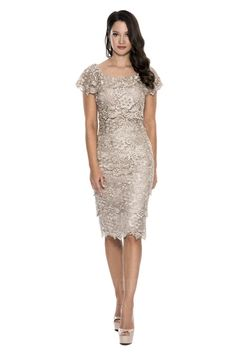 Sheath/Column Scoop Knee-length Lace Mother of the Bride Dress