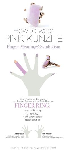 How to wear Pink Kunzite to protect your emotional body, gain Love for yourself and others and relieve stress accordingly with Finger Meaning and Symbolism | 5 Key Reasons to Raise your Heart Potential by Wearing Kunzite | Crystal healing Jewelry