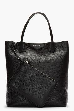 GIVENCHY Black   White Leather Antigona Shopper Tote Givenchy Tote Bag ae464381bea74