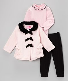 Love this Pink & Black Fleece Ruffle Coat Set - Infant & Toddler by Good Lad on #zulily! #zulilyfinds