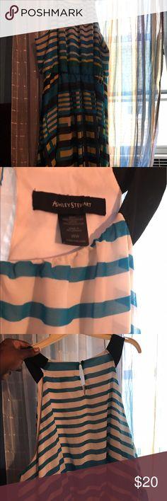 Women's plus dress Worn Once | striped blue white and yellow dress | length is little below the knee | sleeveless Ashley Stewart Dresses Midi