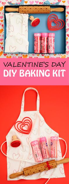 A DIY Valentine baking kit for kids to put together for a fun and sweet experience with your little ones on Valentine's Day. Valentine activity for preschoolers and kindergartners. | at Non-Toy Gifts
