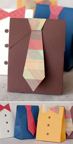 cute diy gift bags for father's day or any other occassion when in need for wrapping gifts for men Diy Father's Day Shirts, Diy Shirt, Shirt Bag, Kids Crafts, Tie Gift Box, Gift Boxes, Favor Boxes, Tie Box, Pioneer Gifts