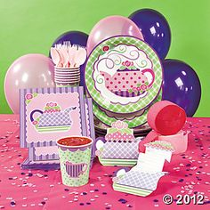 "@ Oriental for 18.00 a set of 8  Tea Party Basic Party Pack.  Includes:  12 invitations  8 - 9"" party plates  8 - 3 1/2"" 9 oz. cups  16 luncheon napkins  16 pc. light pink plastic cutlery set  1 hot pink plastic table cover  2 rolls of streamers, 1 hot pink and 1 pink  2 pkgs. of confetti, 1 light pink and 1 purple  12 each of pink and purple latex balloons"