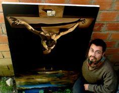 """Con mi copia al óleo del """"Cristo de San Juan de la Cruz"""" de Salvador Dalí, 2009"""