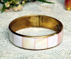 Have one of these from mama! - Mother Of Pearl Bangle Bracelet Bohemian Vintage Indian Jewelry Jewellery 1970s