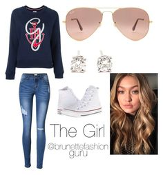 """""""The Girl"""" by brunettefashionguru ❤ liked on Polyvore featuring Tommy Hilfiger, Ray-Ban, Tiffany & Co. and Converse"""