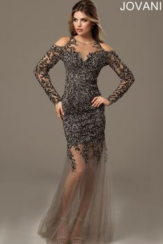 Luxurious netting over a cocktail-length lining defines the trumpet silhouette of Jovani 90155 Evening Dress, adorned with lavish beading from the sheer long sleeves down to the thighs. The illusion jewel neckline sits in between shoulder cutouts and closes with an enormous keyhole at the back. Tapered from sweetheart bodice towards the mid-thighs, the mesh overlay then swirls solely onto the floor with a brush train.