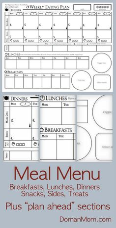 Free Weekly Menu Planning Form that includes breakfasts, lunches, dinners, side dishes, treats, and snacks. Plus spaces for planning ahead steps to dinner prep.