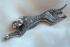 Jaguar Pin Brooch Natural Ruby Sterling Silver by cutterstone, $185.00