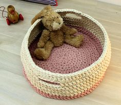Crochet Basket, Knitted Basket, Cream and Pink Basket, Baby Basket, Knitted Bowl, Cotton Basket