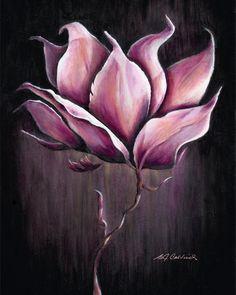 Magnolia Oil Paintings | MAGNOLIA GLOW Art Print, Oil Painting, Pink, Black, Home Decor, Flower ...