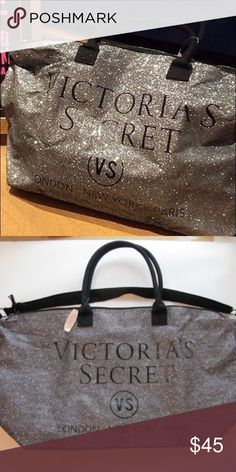 NWOT VICTORIAS SECRET GLITTER TOTE Never used but tags are off! Beautiful bag for a lot of storage. Please contact me if you have any questions! I offer bundle discounts and I negotiate  Victoria's Secret Bags Totes