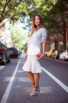 song-of-style-grey-sweater-white-shirt-grey-skirt-aquazzura-heels