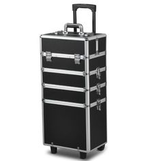 OGIMA Interchangeable Aluminum Rolling Makeup Case Cosmetic Train Box Trolley-Black * Check out this great product.