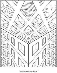 Coloring page from Surreal Visions: Dover Pub. Pattern Coloring Pages, Cute Coloring Pages, Coloring Pages For Kids, Coloring Sheets, Coloring Books, High School Art Projects, Mandala Pattern, Geometry Pattern, Doodle Pages