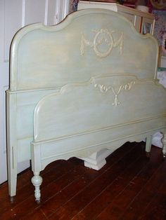Vintage Shabby Chic Bed Barbola Roses by SimplyCottageChic on Etsy. $450.00 USD, via Etsy.