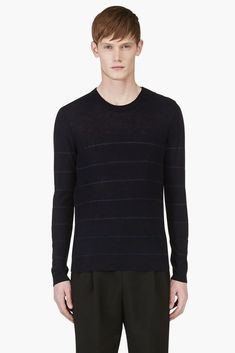 Band of Outsiders Navy Blue Stripe Crewneck Sweater Mens New No Size Content #BandofOutsiders #Crewneck