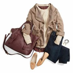 Love the bag and feminine ruffle? Style on a casual jacket that is usually a bit too masculine foe my taste.