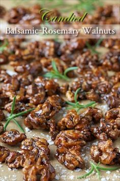 If you're nuts about nuts, these candied balsamic rosemary walnuts are going to be a staple; for salad toppings and just for snacks anytime! Spicy Recipes, Appetizer Recipes, Cooking Recipes, Healthy Recipes, Tapas, Salad Toppings, Spiced Nuts, Snacks Für Party, Appetisers