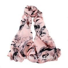 New Arrival White Pink and Beige Color Fashion Design Girl Printed Chiffon Scarves For Women