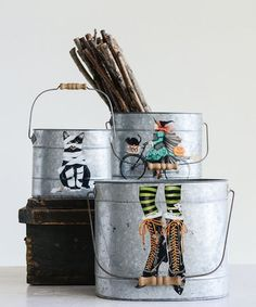 Cast a spell of Halloween-inspired charm over your home when you decorate with this set of tin buckets boasting a classic cat and witch motif. Halloween Songs, Happy Halloween, Halloween Ideas, Tin Buckets, Halloween Buckets, Witch Decor, Antique Farmhouse, Event Decor, Decoration