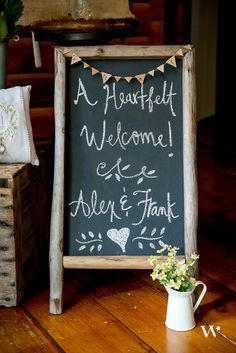 A Must-Have Rustic Wedding Accessory!  This self-standing chalkboard sign is the perfect way to welcome or direct your guests.