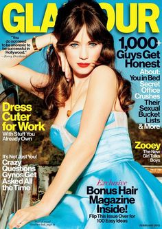 zooey with center parted long 70s bangs