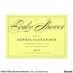 Yellow Baby Shower Invitation - Lemon Sherbet