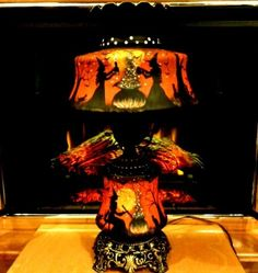 VINTAGE HALLOWEEN WITCHES *HAUNTED HOUSE* 3-WAY * HURRICANE GLOWING* TABLE LAMP