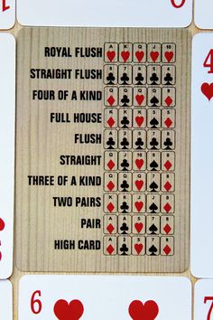 Easy to follow poker rankings consists of bold text beside each hand starting from high card up to royal flush. The light brown wood like background makes the cards look more vintage and may be a great addition to the home. Wood image provided by Pixabay. Click through on any image to check out pricing, discount deals and shipping info. I'm an associate of Zazzle and I may earn a commission off the purchase of a product with no additional cost to you.