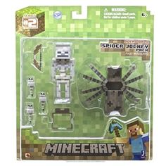 Purchase Minecraft Spider Jockey Pack Fully Articulated Figure from Partytoyz Inc. Share and compare all Toys. Minecraft Spider, Minecraft Toys, Hama Beads Minecraft, Minecraft Crafts, Minecraft Party, Minecraft Skins, Minecraft Houses, Minecraft Stuff, Steve Minecraft