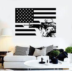 Wall Sticker Vinyl American Soldier Flag Patriotic Decor Unique Gift (ig4305)